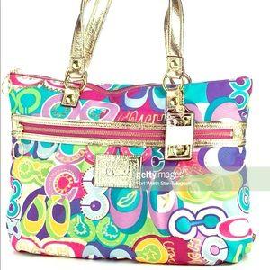Coach poppy tote handbag